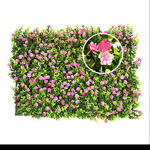 Yunhigh Artificial Hedge with Flowers Faux Greenery Privacy Screens Green Hedge Backdrop Plastic Garden Fake Fence Mat Panel Trellis Wall Decoration