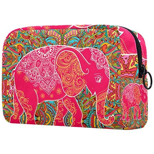 Trousse de toilette portable pour femme, trousse de maquillage, trousse de maquillage, organiseur de voyage, petit éléphant rouge partout