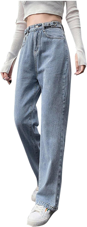 Fudule Fashion Y2K Jeans for Women High Waist Wide Leg Pants Straight Jeans Casual Baggy Trousers Denim Pants Streetwear