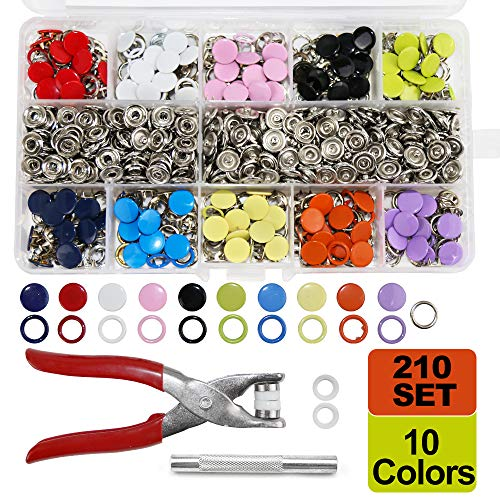 SUNTA 210 Sets 10 Colors Snap Fasteners Kit, 9.5MM Metal Snap Buttons Kit with Snap Pliers Press Tool for Clothing Sewing and Crafting