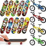 14 Pièces Planches à roulettes de Doigt Skateboard de Doigt Vélo Doigt Mini Planche à roulettes de Doigt Cadeaux d'anniversaire Faveurs de Fête pour Garçons et Filles