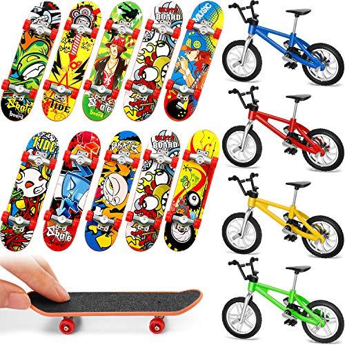Gejoy 14 Pezzi Mini Skateboard da Dita Mini Bicicletta da Dito Regali di Compleanno di Mini Sport con Dita Bomboniere per Ragazzi e Ragazze