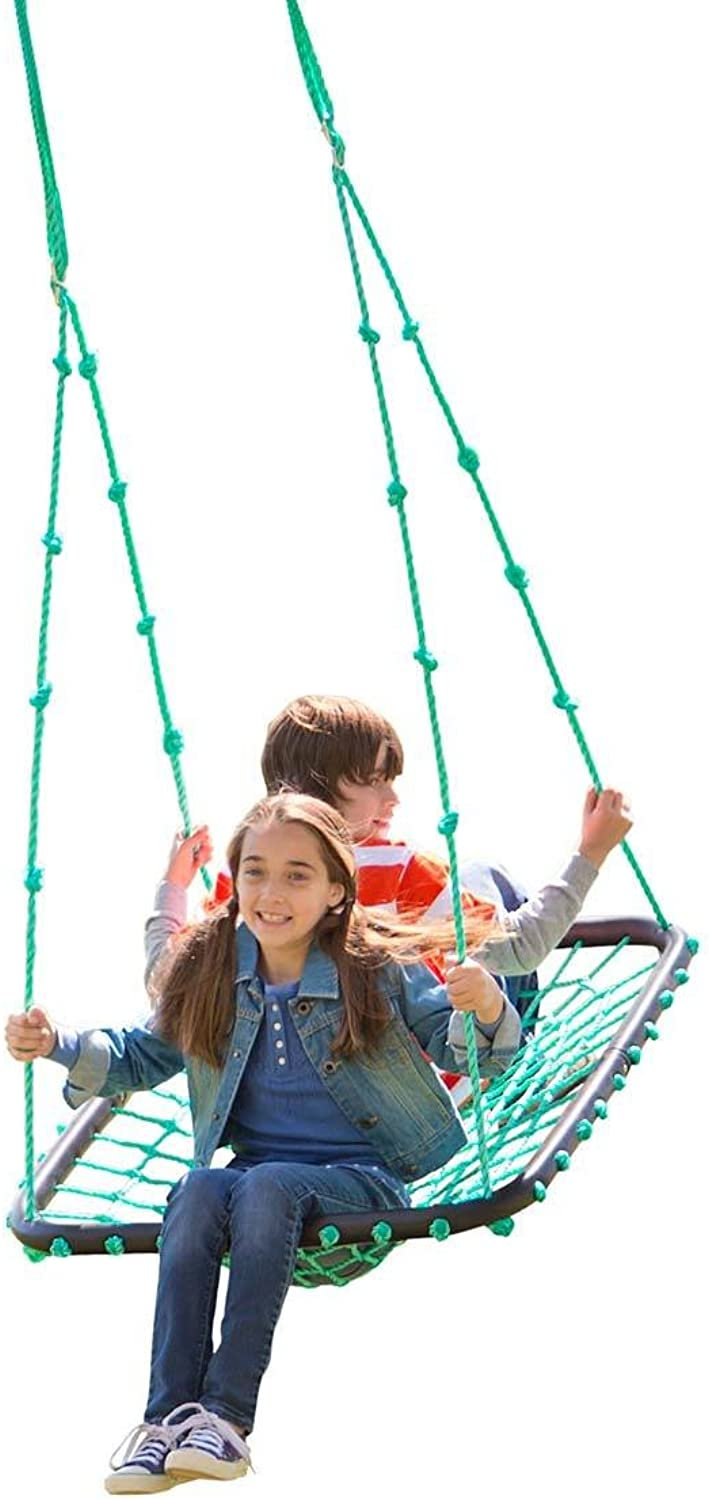 Deluxe Platform Swing, Nylon Rope and Padded Steel Frame  Green  40  L x 30  W