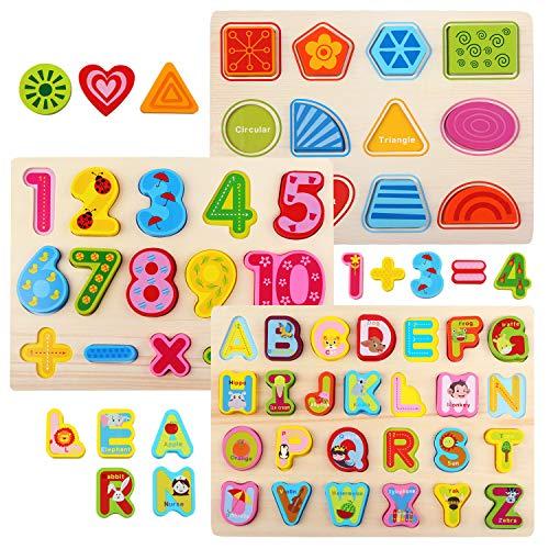 NEWSTYLE Juguetes de Madera Puzzles,3 In 1 Puzzle Madera Alfabeto Numero Forma Puzzle Rompecabezas de Madera Aprendizaje Juguetes Educativos para Niños,Regalo de Cumpleaños, Navidad