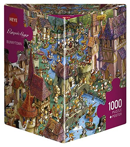 Heye Puzzles - Triangular , 1000 Pc - Bunnytown, Ruyer