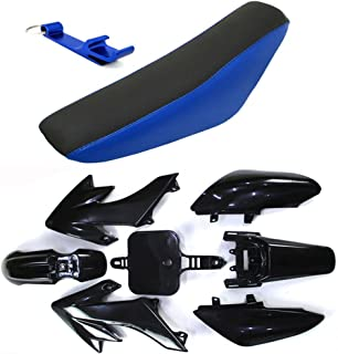 TC-Motor Fairing Body Kits+Tall Foam Seat For Honda CRF50 XR50 Pit Dirt Trail Bike 50cc 70cc 90cc 110cc 125cc 140cc 150cc 160cc SSR Atomik Thumpstar Apollo Kayo Stomp Piranha Pitster Pro (Black)