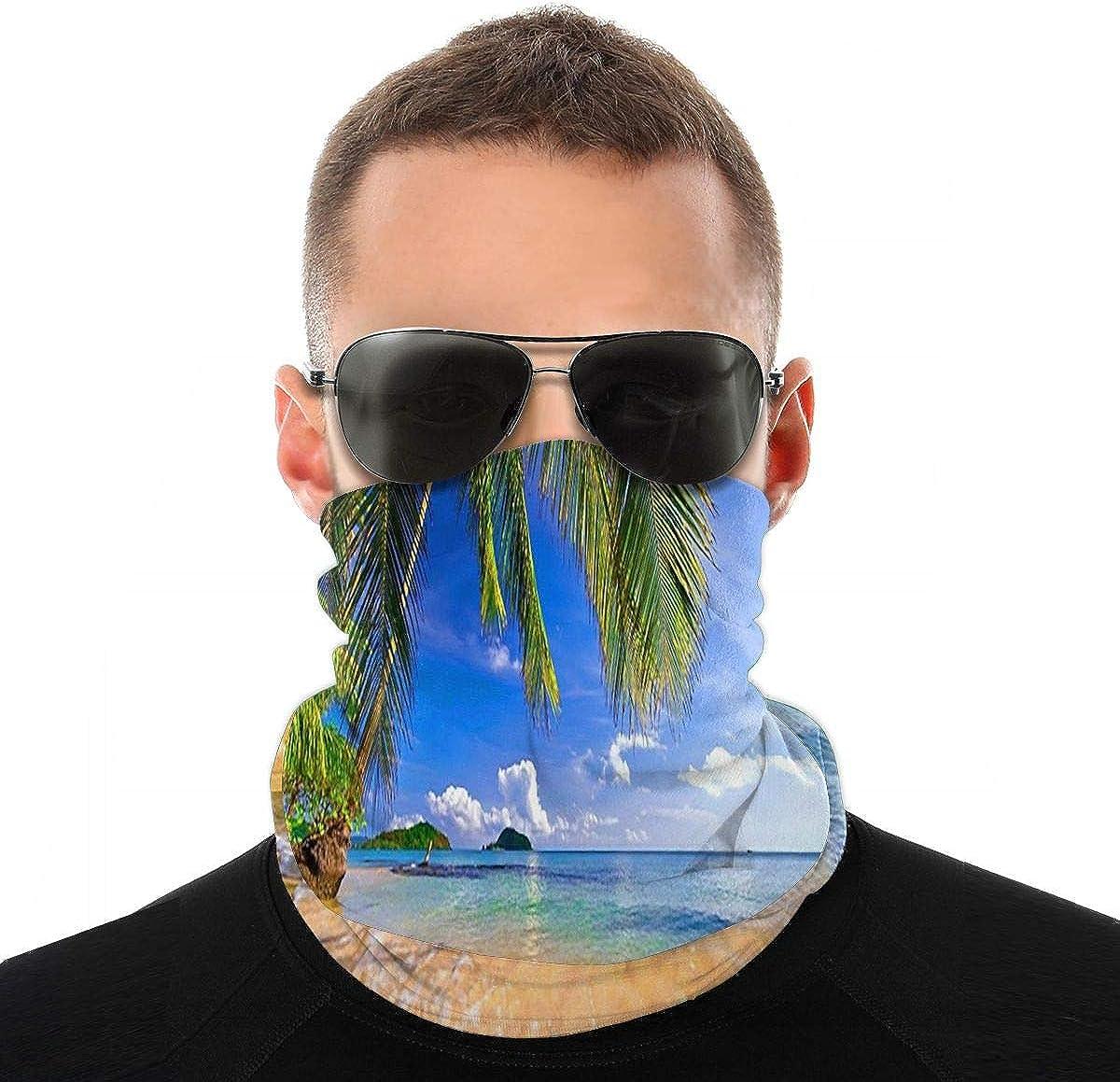 Kiuloam Bandanas Face Mask, Nature Beach Water Neck Gaiter Mask Headband for Men Women Face Scarf Dust, Outdoors, Sports