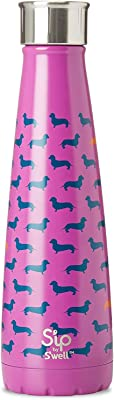 S'ip by S'well 15 Oz Stainless Steel Bottle, 15oz S'ip by S'well Vacuum Insulated Stainless Steel Water Bottle, Double Wall, 15 oz, Top Dog 15oz Top Dog