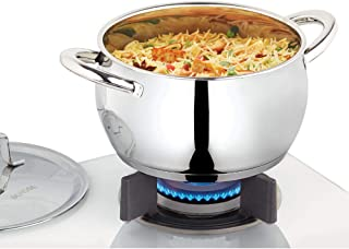 Borosil Stainless Steel Handi Casserole with Lid, Impact Bonded Tri-Ply Bottom, 2.2 L, Silver