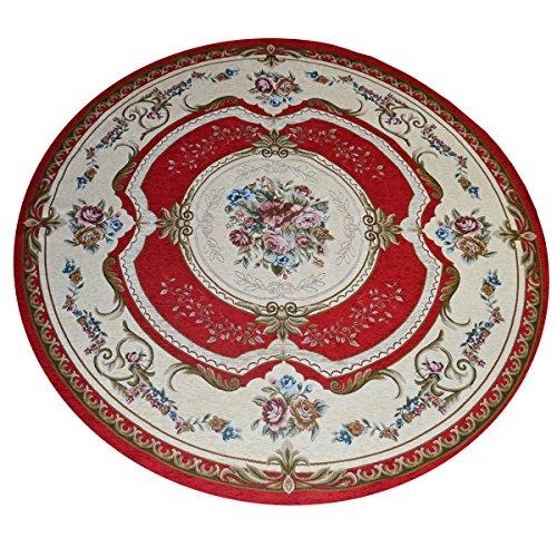 WEBTAPPETI.IT Tapis Aubusson de style classique français, rouge Cm. 200 Tondo rouge
