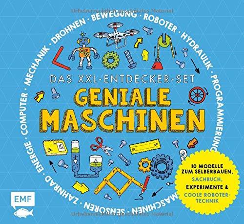 Das XXL-Entdecker-Set – Geniale Maschinen – Mit 10 Modellen zum Selberbauen, Sachbuch, Experimenten und cooler Robotertechnik: Modelle im Set: ... Hydraulik-Zange, Lochkarten, Pantograph
