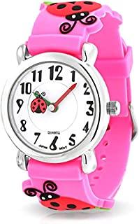 Good Luck Red Ladybug Waterproof Wrist Watch Time Teacher Quartz 3D Cartoon Pink Silicone Wristband Round White Dial