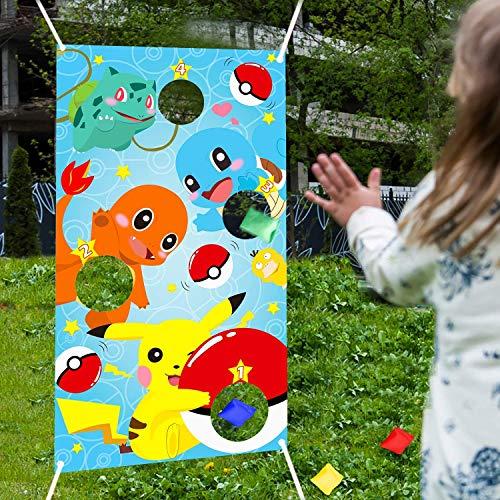 BeYumi Werfen Spiele mit 4 Bohnentaschen, Indoor Outdoor Werfen Spiel Party Zubehör für Kinder und Erwachsene, Karneval Spiele Werfen Spiele Banner