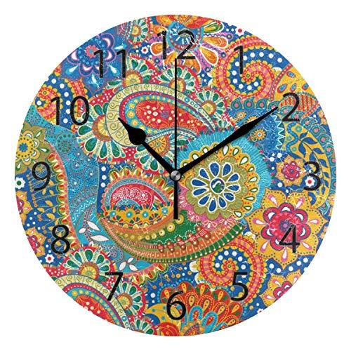 Reloj de pared decorativo para el hogar, oficina, silencioso, de madera, 25,4 cm, para sala de estar, oficina (flores de cachemira)
