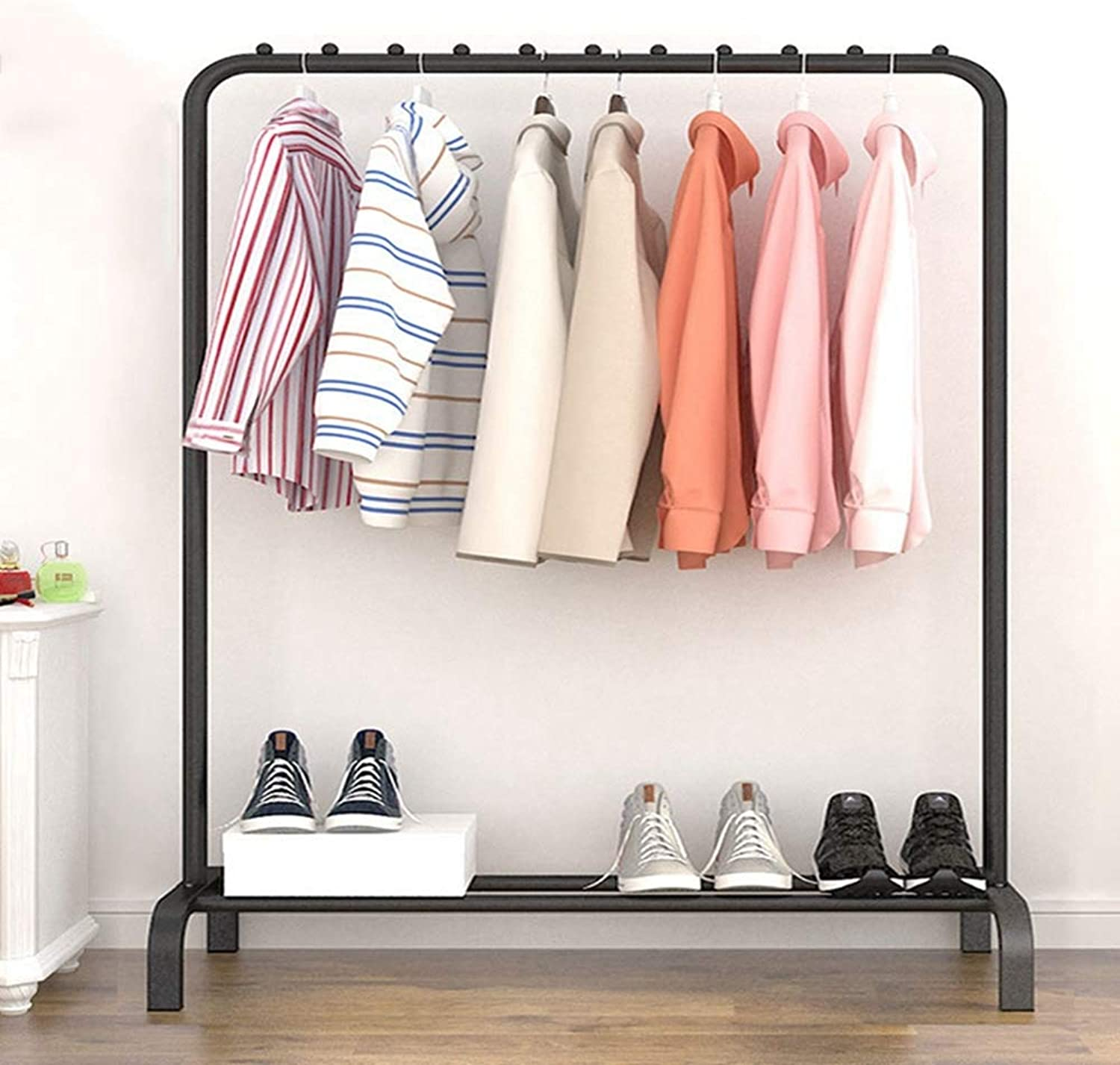 Sxuefang Coat Rack Coat Hat Rack Folding Single Rod Drying Rack Coat Rack Floor Coat Rack Clotheshorse Balcony Rack with Environmental Material with Simple Style