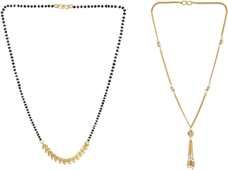 Efulgenz Mangalsutra Indian Jewelry Traditional Leaf Pendant Long Black Beaded Chain Necklace