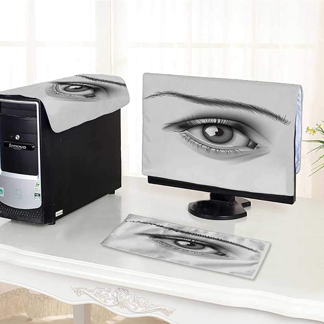 Auraisehome Computer Three-Piece dust Cover Realistic Close Up Young Woman Eye with Dramatic Look Face Pain Print Grey Protect Your Computer /30