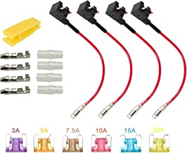 ARTGEAR 12V 24V Low Profile Add-a-Circuit Fuse Tap, ACS Miniature Piggy Back Blade Fuse Holder with Wire Harness, 6 pcs Fuse (3A 5A 7.5A 10A 15A 20A) and Fuse Puller (Pack of 4)