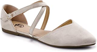 Trary Women's D'Orsay Criss Cross Strap Ballet Flat Shoes