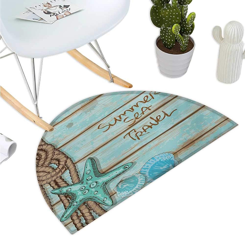 Starfish Semicircular Cushion Summer Season Sea Travel Retro Boards of Ship Deck Rope Scallops Entry Door Mat H 35.4  xD 53.1  Brown Mint Green Turquoise