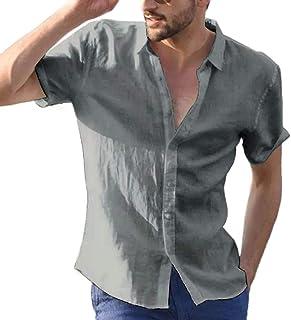Macondoo Men's Button Down Summer Cotton Linen Short Sleeve Solid Color Shirts