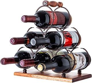 Zhicaikeji Casier à bouteilles de vin pour 6 bouteilles pouvant être placé dans n'importe quel espace - Couleur : noir - D...