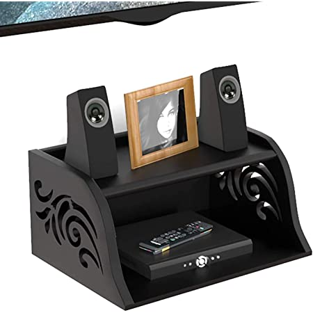 Vudy Wooden Set Top Box Wall Shelf for Setup Box|WiFi Router|ac Remote Stand Wall Mounted Shelves-Black