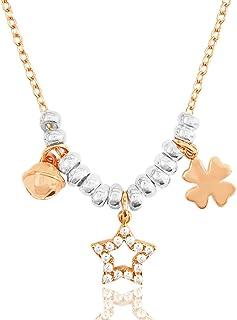 ViMon gioielli|COLLANA in ARGENTO 925 placcato ORO ROSA,con ciondoli:campanellino,stella,quadrifoglio.Lunghezza Catenina S...