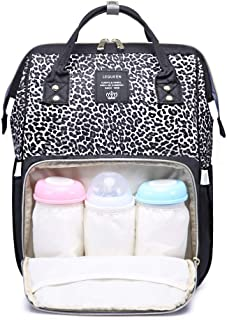 Leopard Diaper Bag Backpack Maternity Nappy Bag Baby Bag Organizer for Mom Dad (Black-Leopard)