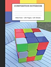Puzzle Cube Notebook: Composition Wide Ruled Notebook, 200 Pages / 100 Sheets