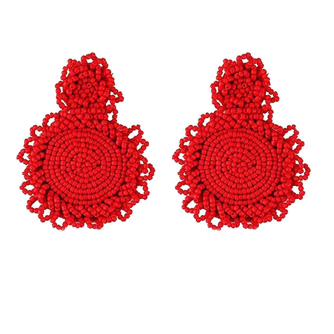 SMALLE ??? Statement Drop Earrings for Women, Bohemian Beaded Round Handmade Hoop Tassel Earrings for Women Girls Jewelry