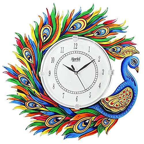 Mishtienterprises Wood Peacock Design Painted Analog Wall Clock (Multi)