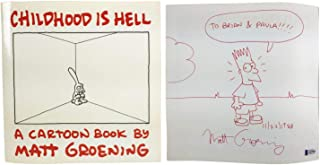 Matt Groening Autographed Signed Childhood Is Hell Cartoon Book With Bart Simpson Sketch Beckett