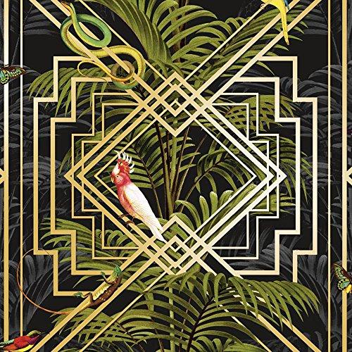 Papier peint Motif oiseaux tropicaux Noir/doré métallique Vert