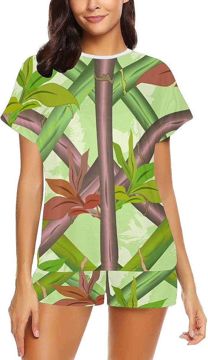 INTERESTPRINT Bamboo Pattern Women's Lightweight Pajama Set, Short Summer Pjs