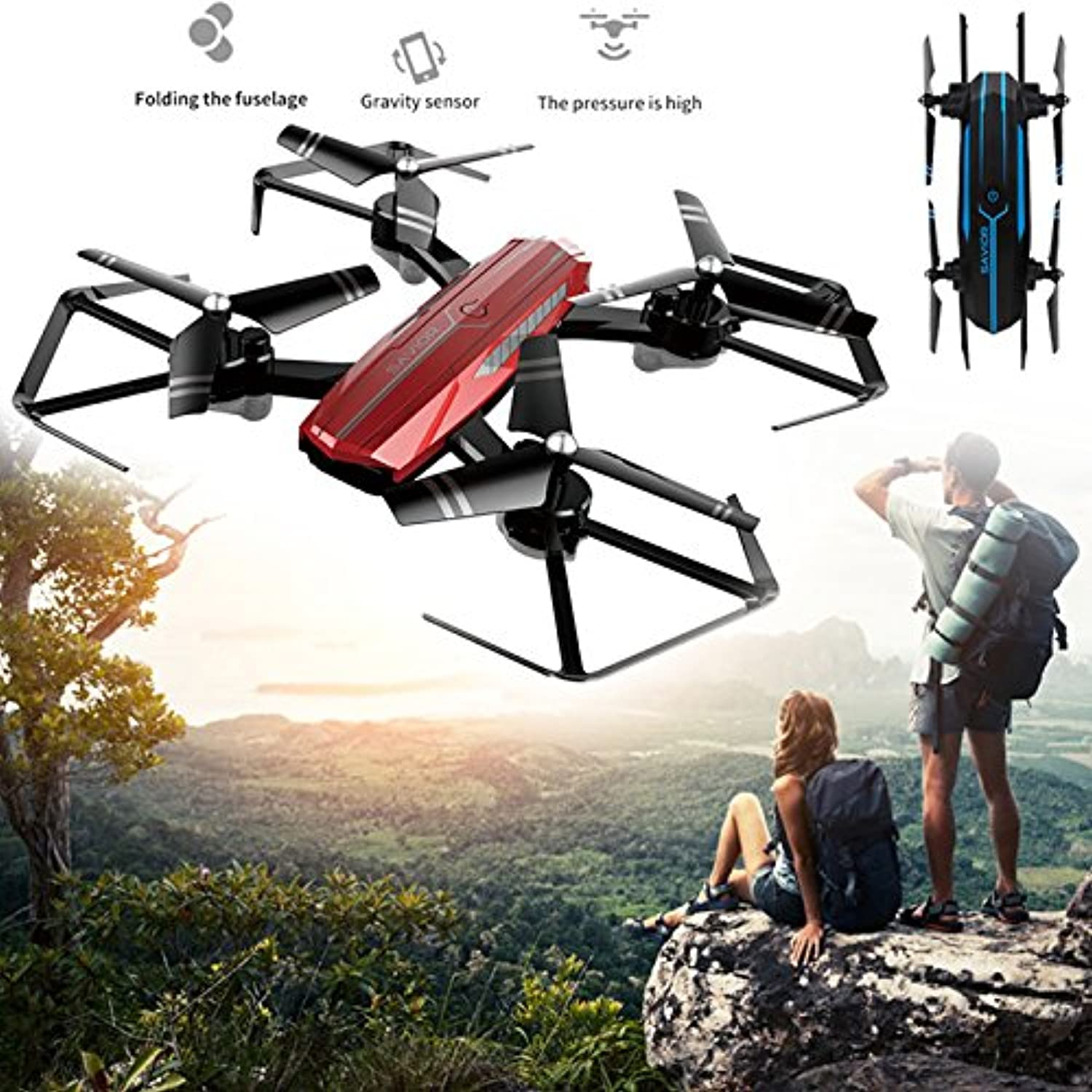 WSWRJY Drones,Drone Camera,Ntelligent Foldable Uav Drone 480P 720P Hd Wide Angle Camera App Remote Wifi 3D Roll-Over One Key Take Off