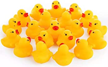 Maeline Wholesale Bulk Lot Baby Bath Water Duck Toy Sounds Tiny Mini Yellow Rubber Ducks Small Children Swimming Beach (100 Pack)