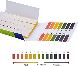 Soccerene Universal pH Test Strips with Color Chart, Full pH Range of 1-14, Instant Results in 0.5 Second, for Water Soil Saliva Urine Testing, 4 Packs of 80 Strips
