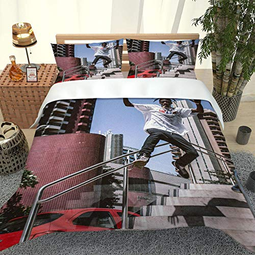 ZHIYYQ Juego de cama de tres piezas, funda de edredón, funda de almohada, microfibra, impresión digital 3D, espesante, calidez, suave y cómodo, regalo Sunshine Boy-200 x 200 cm