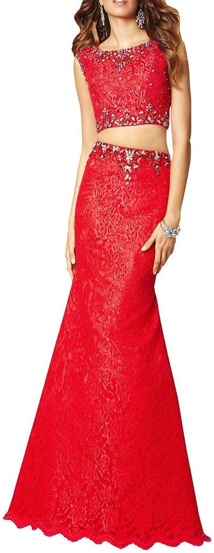 Dearta Women's Sheath Column Scoop Neck FloorLength Lace Prom Dresses