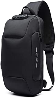 Anti Theft Sling Bag Shoulder Crossbody Backpack Waterproof Chest Bag with USB Charging Port Lightweight Casual Daypack