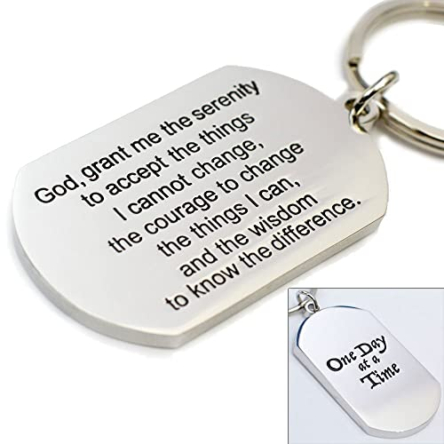 One Day At A Time - Serenity Prayer Keychain - Addiction Recovery Gift - Celebrate Sobriety