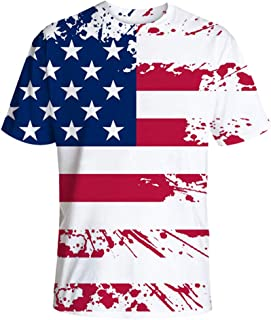 Save 15% BBesty Men's Summer New Casual Loose Color Stripe Print Independence Day Round Neck T-Shirt Tops