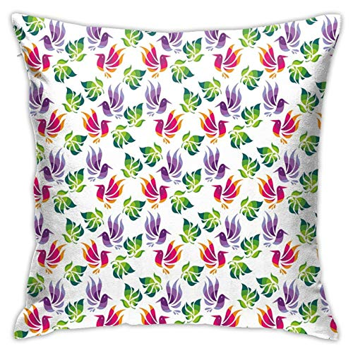 Throw Pillow Case Cushion Cover,Origami Art Style Inspired Fractal Bird Figures with Exotic Leaf Details Design ,18x18 Inches
