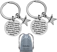 Best Friend Keychain,Jewelry Gift Good Friends are Like Stars, You Don't Always See Them but You Know That They are Always There for Her,Him,Friends(2 Pack)