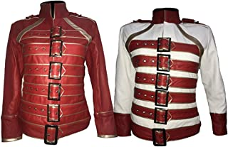 Womens Freddie Mercury Queen Concert Wembley Red and White Costume Faux Leather Jacket