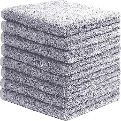GREEN MARK Textilien 8er Pack Frottier Handtücher mit Aufhänger 50x100cm Handtuch 100% Baumwolle Farbe: Silber grau