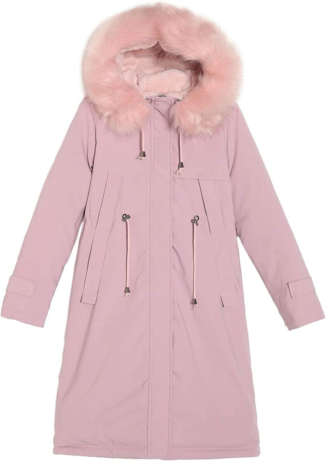 Women's Fleece Thickened Jacket , Winter Coat Quilted Puffer Jacket with Faux Fur Trim Hood