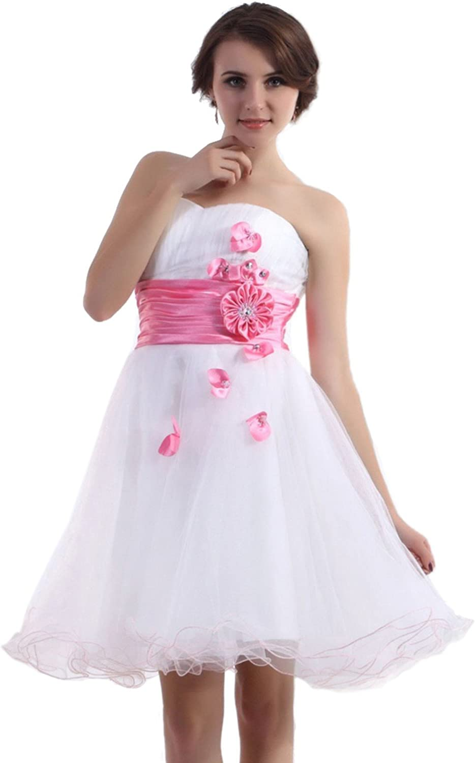 Vampal White Strapless Sweetheart Organza Homecoming Dress With Ruched Waist