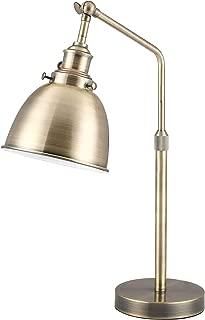 CO-Z Vintage Gold Desk Lamp with LED Bulb, Metal Office Task Lamp Adjustable, Modern Industrial Style Work Lamp, Antique Brass Reading Lamp, ETL. (Antique Brass)